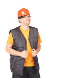 Man in red hard hat has a good mood. Stock Images