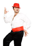 The man in a red hat. Dances  cha cha cha Royalty Free Stock Photography