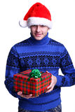 Man in red hat with gift Stock Photos