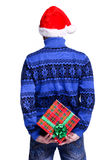Man in red hat with gift Royalty Free Stock Photos