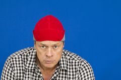Man with red hat and plaid shirt. Black and white Royalty Free Stock Photo