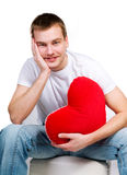 Man with a red heart Royalty Free Stock Image