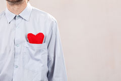 Man with red heart Royalty Free Stock Image