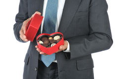 Man with Red Heart Candy Box Stock Photography