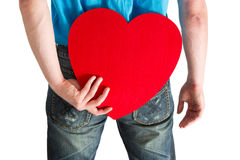 Man with a red heart on partnership search Stock Images