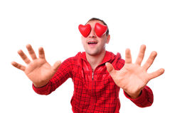 Man with red heart-shapes Royalty Free Stock Image