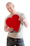 Man with red heart for valentines day Stock Image