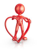 Man with a red heart Royalty Free Stock Photo