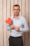 Man with red heart Royalty Free Stock Photo