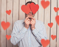 Man with red heart Stock Photography
