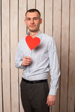 Man with red heart Royalty Free Stock Images