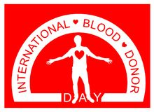 A man with red heart. World blood donor day. Logo. Flat design. A man with red heart. World blood donor day. Logo. International holiday.The man stretched out Stock Photo