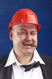 Man with red helmet Royalty Free Stock Photography