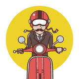 Man with red helmet riding a red scooter Royalty Free Stock Images