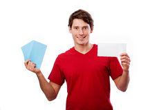 Man in red holding card for your own text Royalty Free Stock Images
