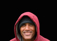 Man in the Red Hoodie. The Man in the Red Hooded Jacket stock photo