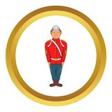 Man in a red jacket icon. Man in a red jacket and metal helmet, army uniform 19th century icon in golden circle, cartoon style isolated on white background vector illustration