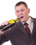 Man with red kisses on face and winery bottle Stock Images