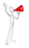 Man with red megaphone. Man with red megaphone isolated on white background Royalty Free Stock Images