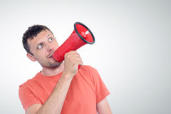 Man with red megaphone Royalty Free Stock Images