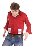 Man in red with money. Isolated Royalty Free Stock Image