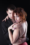 Man and red naked woman - lovers portrait royalty free stock photography