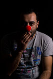 Man with red nose portrait Stock Photos