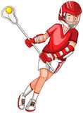 Man in red outfit playing lacrosse Stock Photo