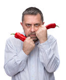 A man with a red pepper Royalty Free Stock Photo