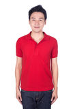Man in red polo shirt isolated on white background. Happy man in red polo shirt isolated on white background Royalty Free Stock Image