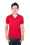 Man in red polo shirt isolated on white background. Happy man in red polo shirt isolated on white background Stock Images
