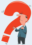 Man with a red question stock photography