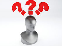 Man with red question mark. Man thinking  with red question mark 3d illustration Royalty Free Stock Image
