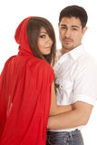 Man and red riding hood arms looking Royalty Free Stock Photo