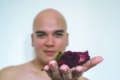 A man with a red rose. Closeup of a man giving old red flowers Royalty Free Stock Image
