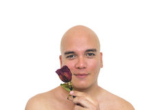 Man with a red rose. Closeup of a man playing with an old red rose Royalty Free Stock Photo