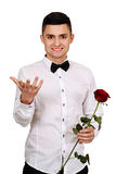 Man with red rose Stock Photography