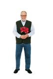 Man red roses flowers. Senior man holding a bouquet of red roses flowers standing on white background Royalty Free Stock Photography