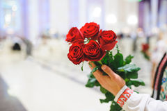 Man with Red Roses Stock Photos