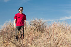 Man in red shirt Stock Images