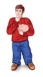 Man in a red shirt. A man in a red shirt and blue pants holds a piggy bank in his hands Royalty Free Stock Image