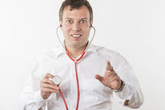 Man with red stethoscope Royalty Free Stock Images