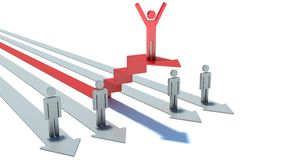 Man on red success arrow steps. business concept Royalty Free Stock Photo