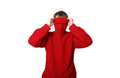Man is in a red sweater. A man is a dressing red sweater Royalty Free Stock Images
