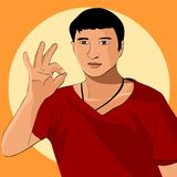 The man in the red sweater, the gesture shows everything is fine. Vector illustration. The man in the red sweater, the gesture shows everything is fine Stock Photography