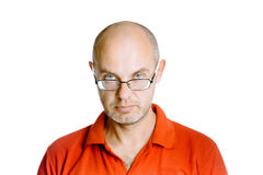 Man in a red T-shirt. Studio. isolated Stock Photo