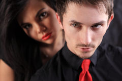 Man with red tie and girl with red lips Stock Images