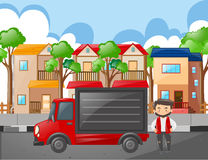 Man and red truck in the neighborhood Royalty Free Stock Photography