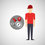 Man red tshirt collection navigation elements concept Royalty Free Stock Images