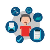 Man red tshirt support operator assistance. Vector illustration eps 10 Royalty Free Stock Photo